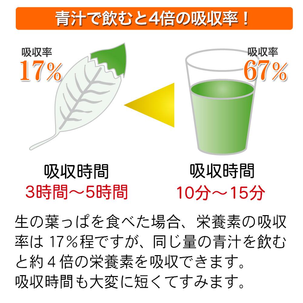 青汁で飲むと4倍の吸収率!吸収時間も短くてすみます。
