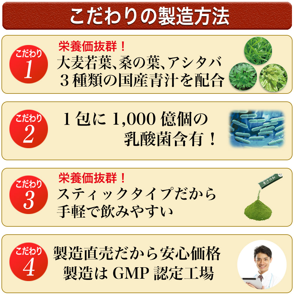 スティックタイプだから手軽で飲みやすい。さらに厳しい審査基準のGMP(健康食品の製造のための品質基準)取得の最新の工場で行っています。