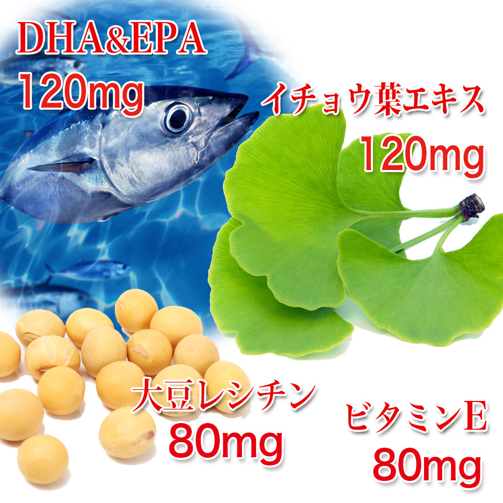 1日の目安2粒あたりDHA&EPA 120mg、イチョウ葉エキス 120mg、大豆レシチン 80mg、ビタミンE 80mg。