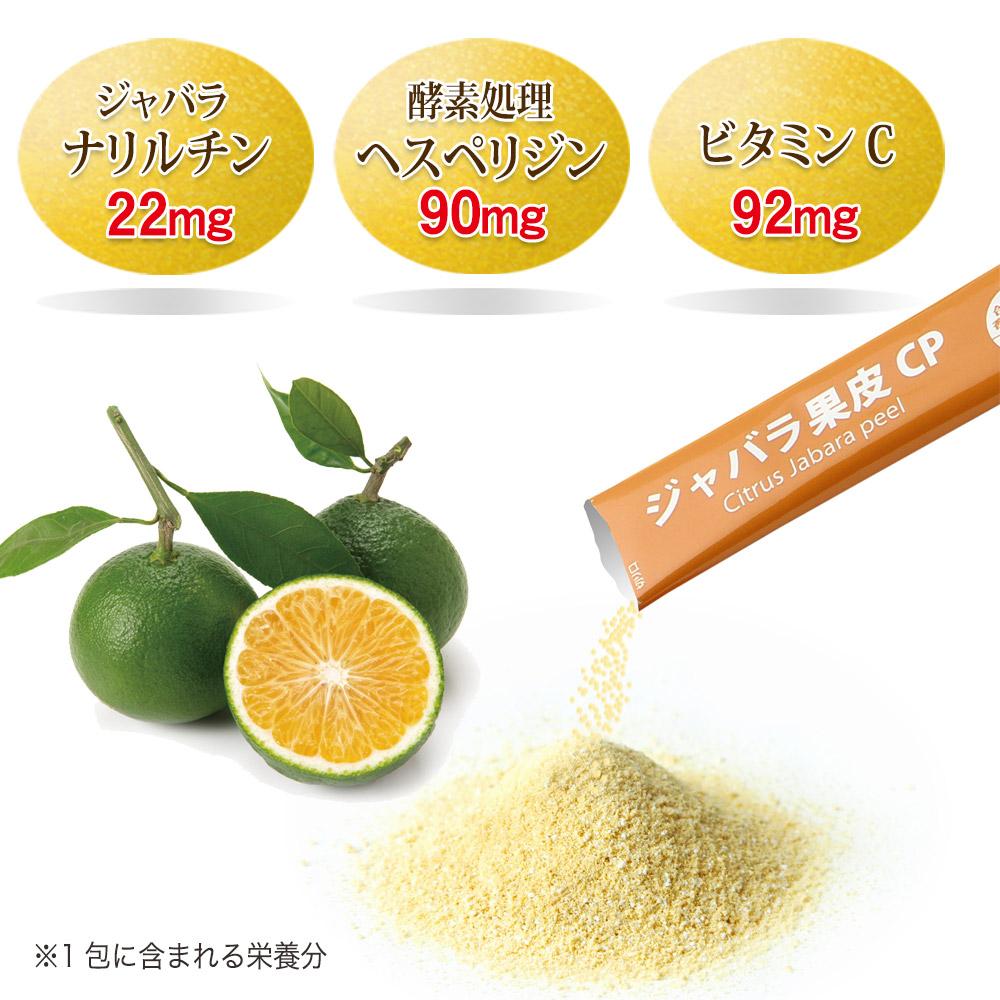 1包にジャバラナリルチン22mg、酵素処理ヘスペリジン90mg、ビタミンC92mg配合