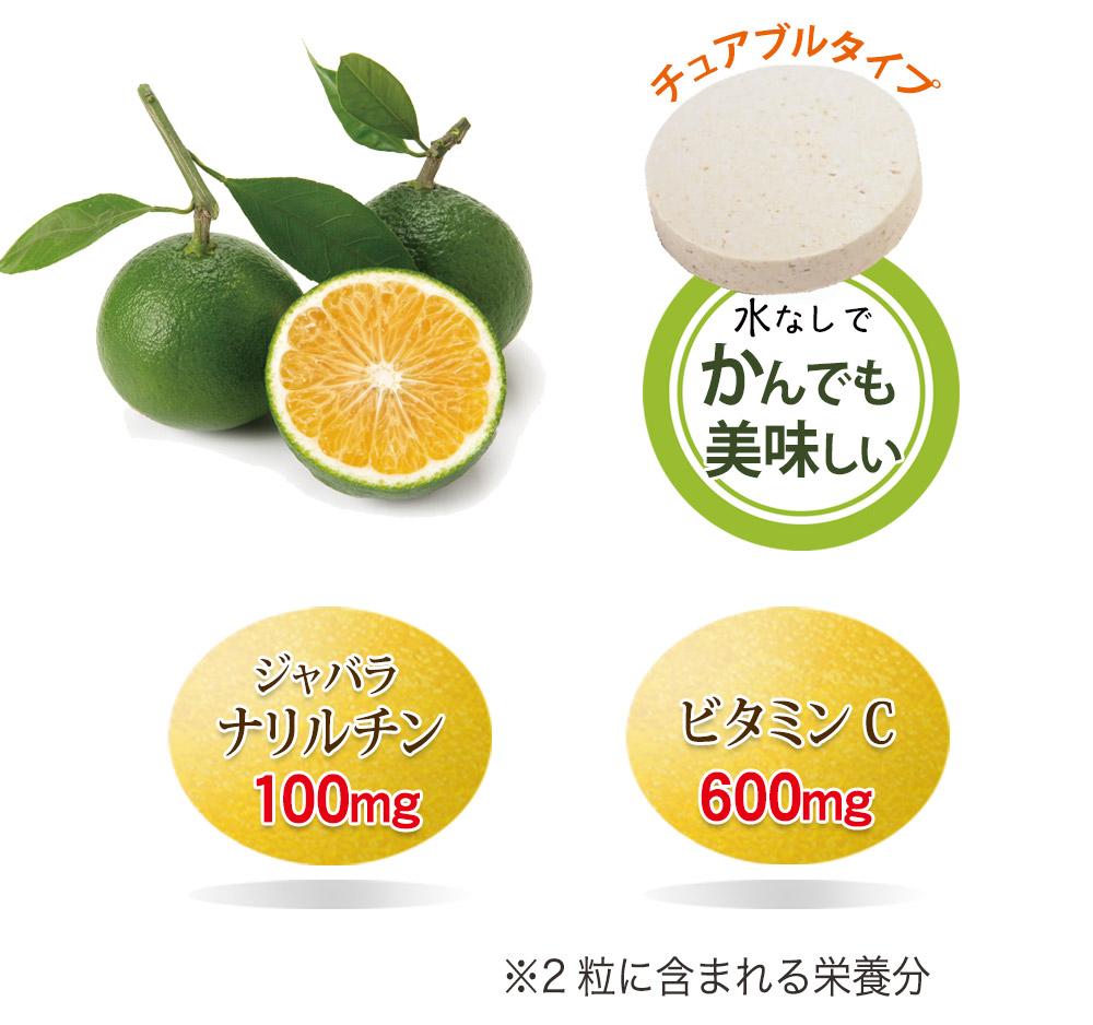 主な成分含有量(2粒中)じゃばらナリルチン・・100mg、ビタミンC・・600mg