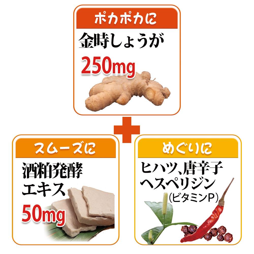 1日の目安2粒中に金時しょうがをたっぷり250mg配合、酒粕発酵エキス 50mg、ヒハツ、唐辛子、黒胡椒配合