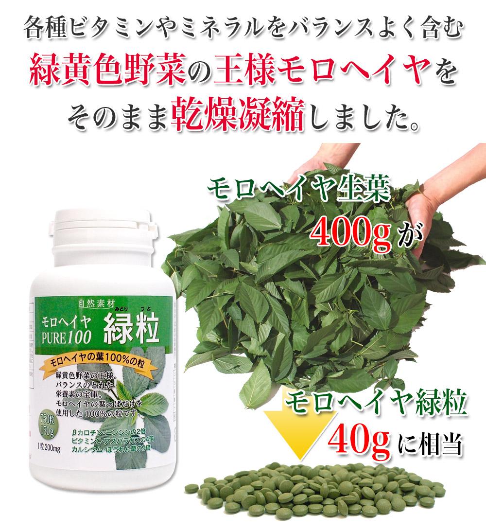 新鮮摘みたてのモロヘイヤ生葉400gがモロヘイヤ緑粒200粒入りの40gに相当