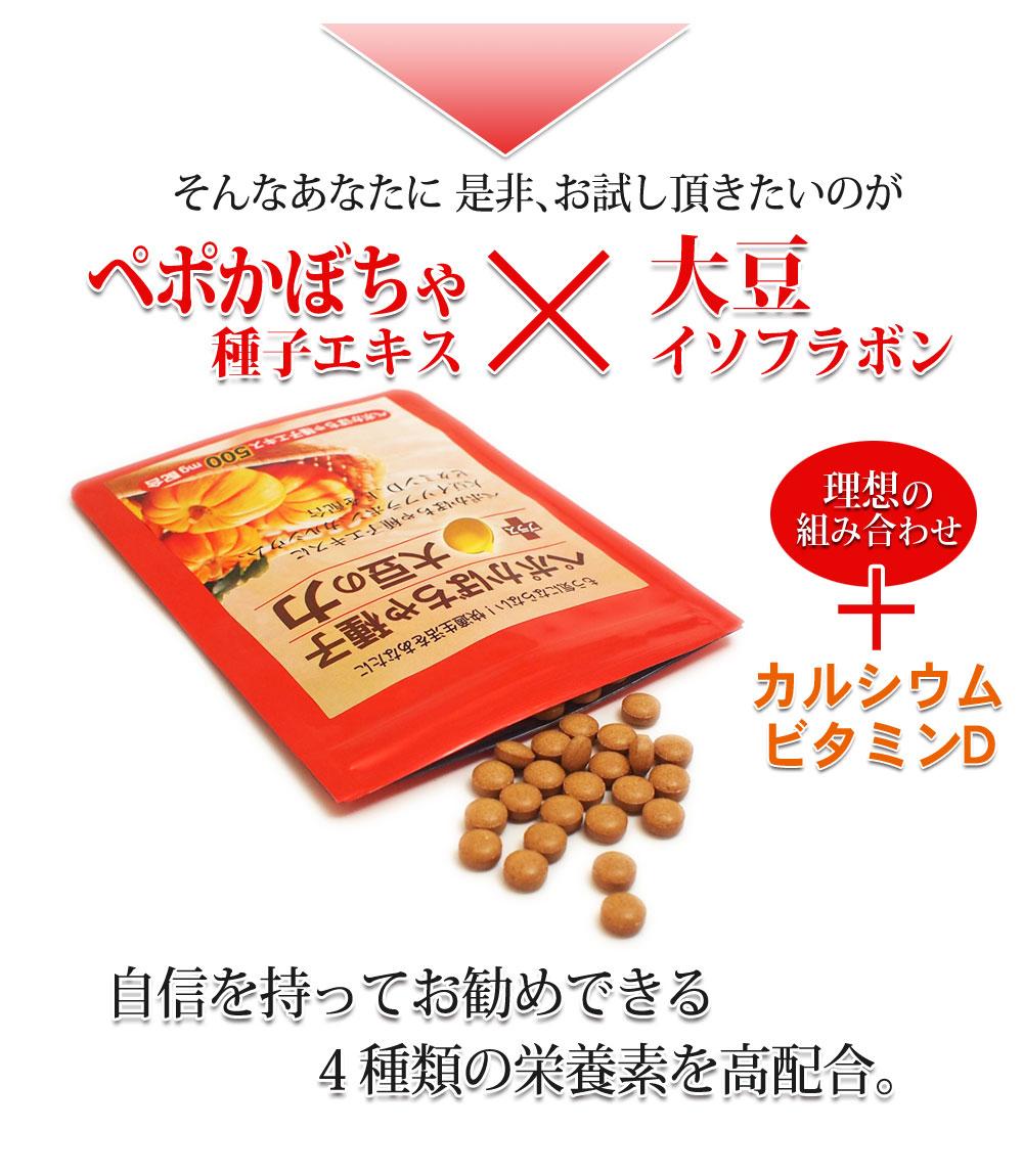 1日の目安3粒中:ペポかぼちゃ種子エキス500mg、大豆イソフラボン75mg