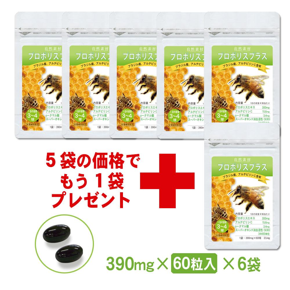 プロポリスサプリメント60粒入6袋セット 〇プロポリスエキスにビタミンE、ビタミンCを配合!免疫力アップに!(約120日分)