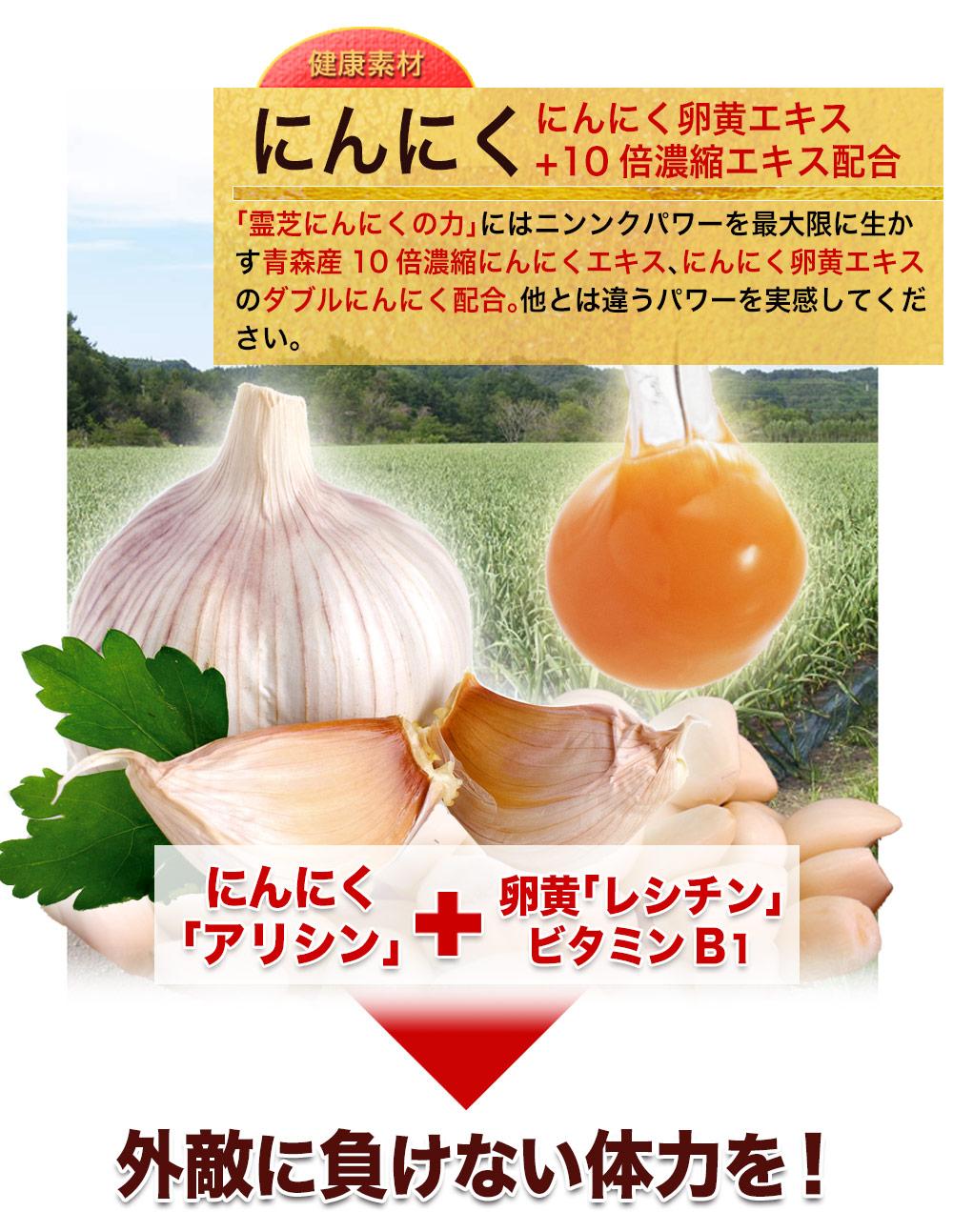 にんにく卵黄エキス+10倍濃縮エキス配合。