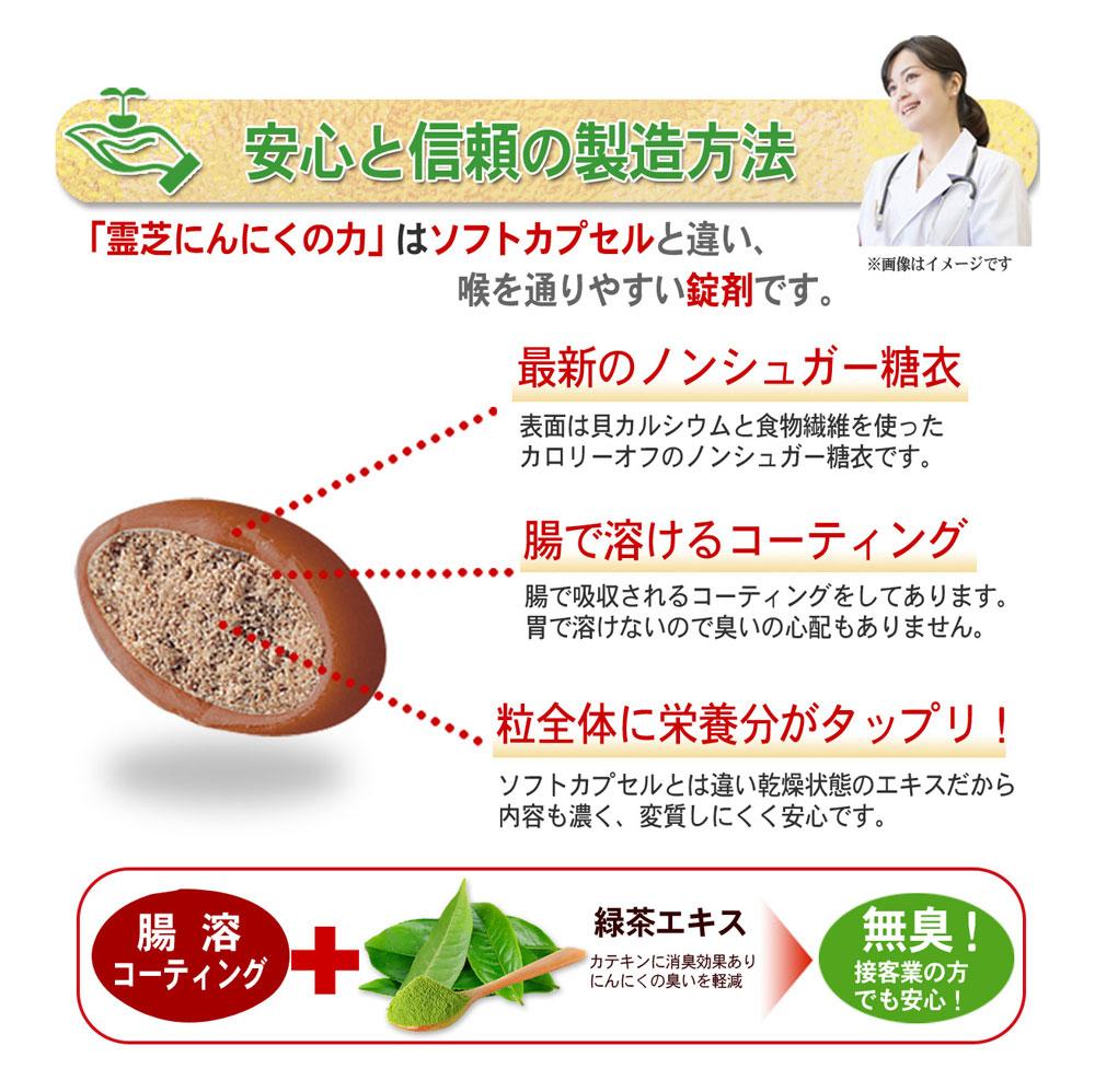 腸溶コーティングだから胃に優しく無臭!さらに緑茶エキスで無臭。