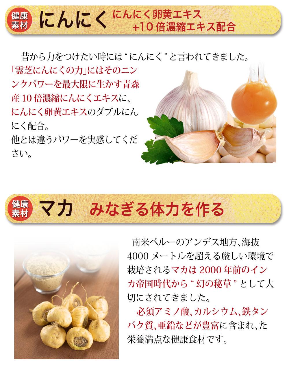 宍道湖酸しじみエキス80mg配合。島根県宍道湖産のしじみを使用。「しじみ」には注目のオルニチンをはじめ体内では作ることの出来ない「必須アミノ酸」が沢山含まれています。にんにく卵黄エキス+10倍濃縮エキス配合。青森産10倍濃縮にんにくエキスににんにく卵黄エキスのダブルにんにく配合。