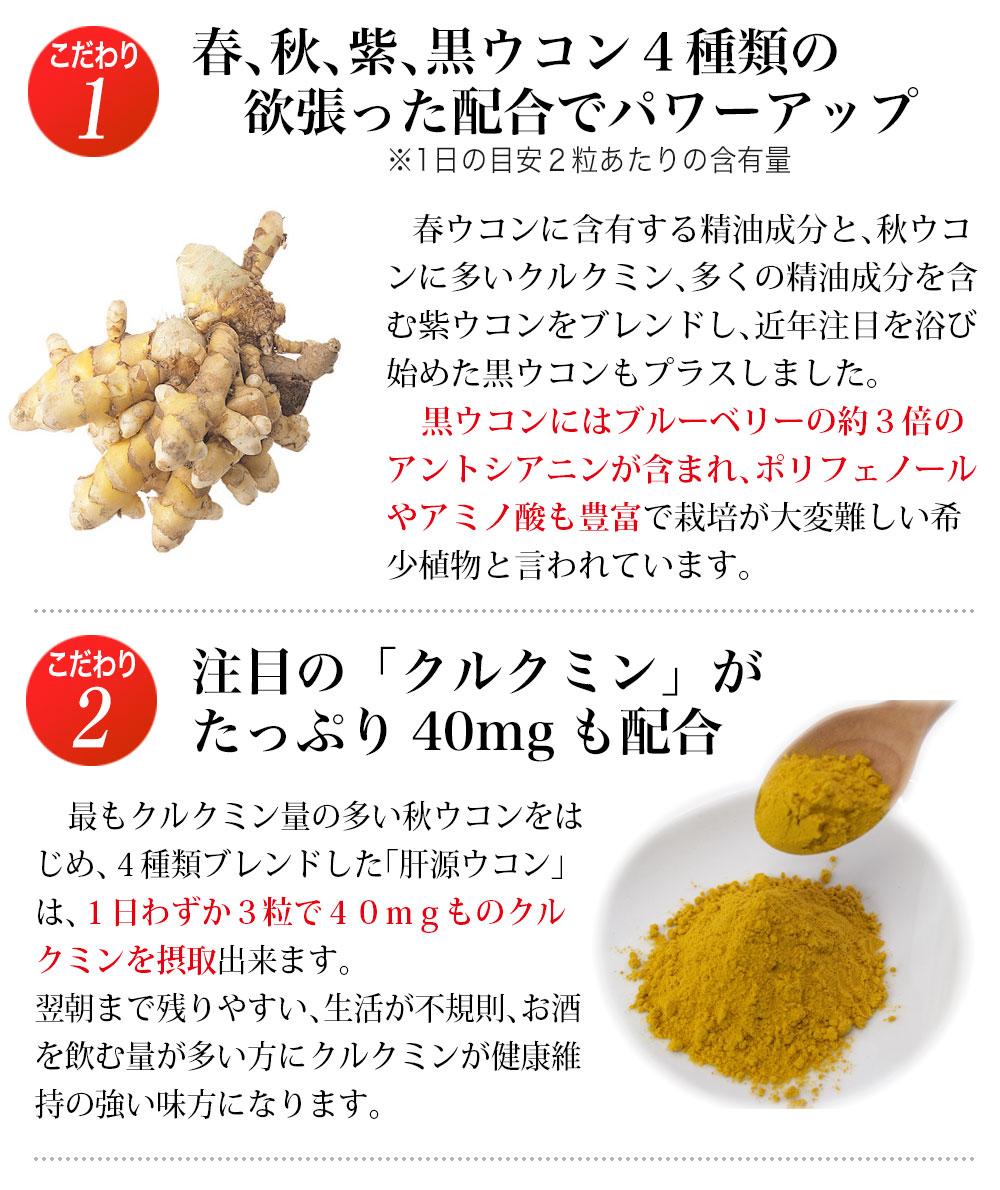 3種類(春、秋、紫)の沖縄産ウコンにポリフェノールタップリの黒ウコン配合、さらにクルクミン強化。