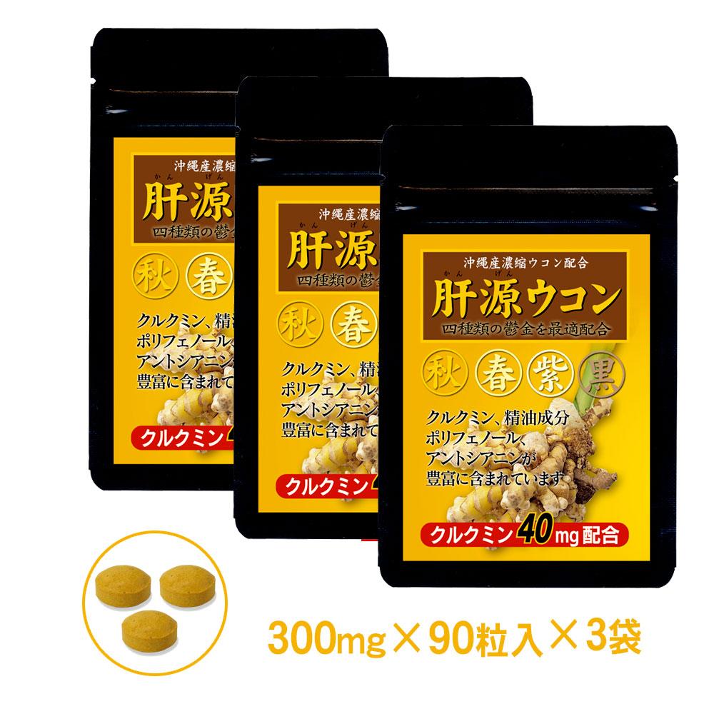 秋ウコン 春ウコン 紫ウコン 黒ウコンの4種ウコン配合◎クルクミン40mg強化 サプリメント「自然力 肝源ウコン」1袋90粒入 3袋セット(約3ヶ月分)