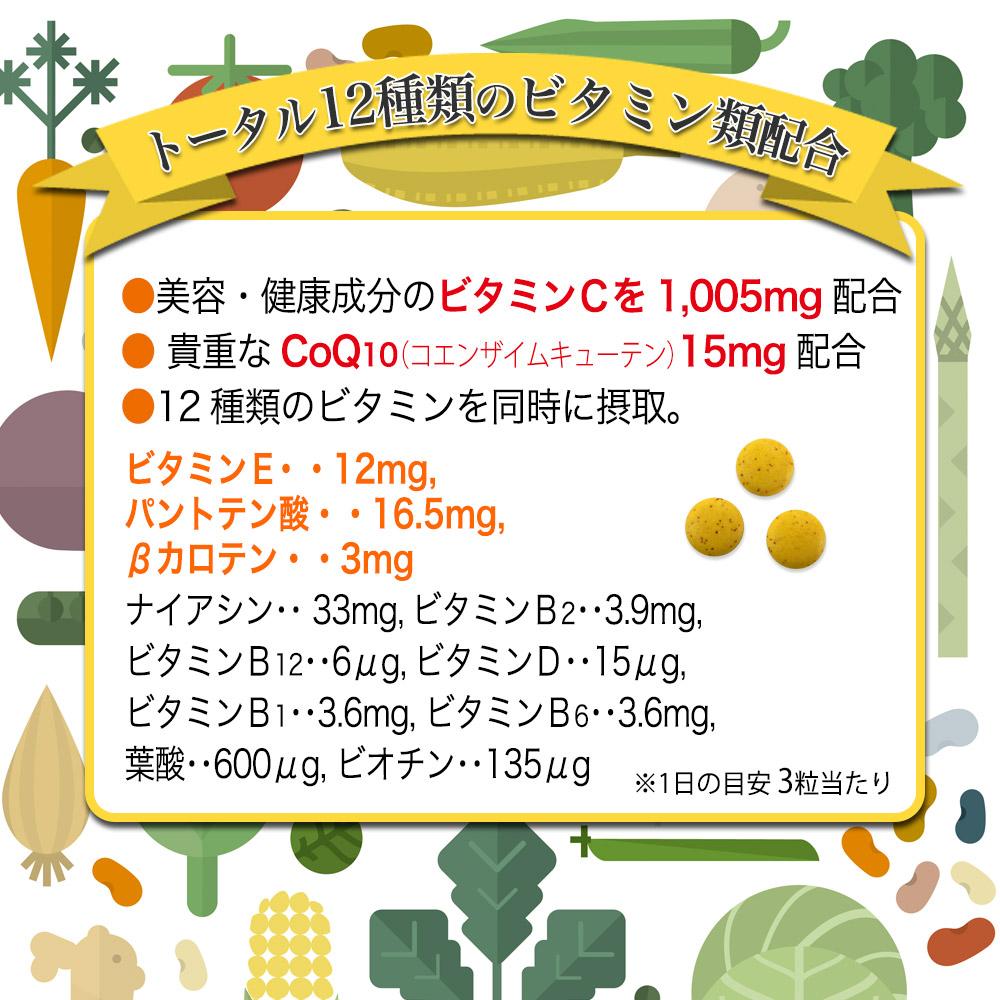 トータル12種類のビタミン類配合 ●美容・健康成分のビタミンCを1,005mg配合● 貴重なCoQ10(コエンザイムキューテン)15mg配合●12種類のビタミンを同時に摂取。